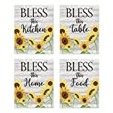 """Bless This Kitchen Home Table Food - Rustic Vintage Farmhouse Country Boho Wood Grain Inspirational Quotes Sayings Wall Art for Kitchen Dining Room Bar Decor Modern Signs Pictures Posters Prints Decorations Floral Flower Sunflower Unframed 8""""x10"""""""