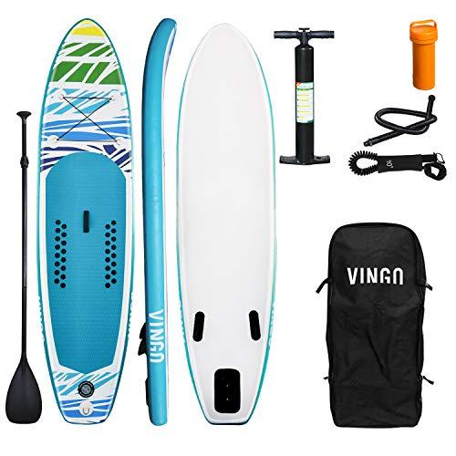 VINGO Juego de tabla de surf de remo, hinchable, 15 cm de grosor, tabla de surf de remo, estable y ligera, para principiantes y experimentados
