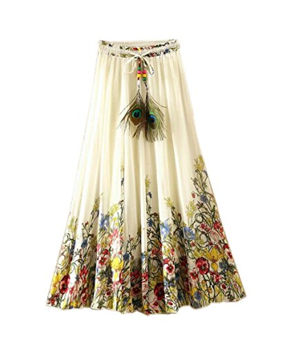 Blancho Blume Reben-Muster Sommer Chiffonrock große Schaukel Röcke Fee Rock