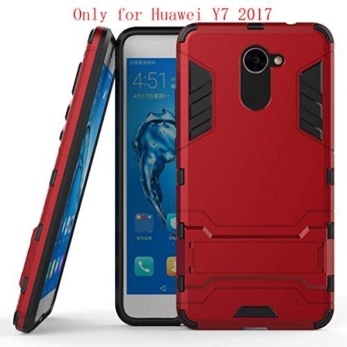 Huawei Y7 Funda, SMTR Ultra Silm Híbrida Rugged Armor Case Choque Absorción Protección Dual Layer Bumper Carcasa con pata de Cabra para Huawei Y7 ,rojo