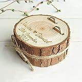 HOMEDAI Hecha a Mano Personalizable Caja para Anillos de Boda con Grabado Vintage y Redondo, Ideal para Novias y Novios