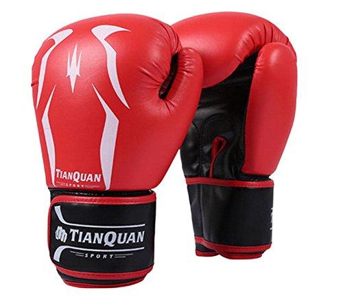 BLANCHO BEDDING 10 oz Adulte de Boxe MMA Gants Punching Mitts de Formation pour Muay Thai Kickboxing, Rouge