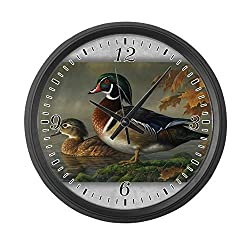 BCWAYGOD Wood Ducks Wall Clock Nice for Gift or Office Home Unique Decorative Clock Wall Decor 12in with Frame