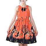 Sunny Fashion Robe Fille Orange Halloween Sorcière Chauve Souris Citrouille Costume Licou Habiller 14 Ans