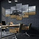 45Tdfc Lienzo de Pared Art Imagen para decoración del Black 1949 Chevy Truck Car Farm 5 Piezas Pinturas Moderna Estirada Enmarcado Arte Aceite