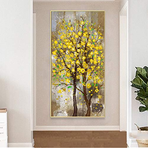 ganlanshu Rahmenlose Malerei Kunst gelbe Blume Baum Leinwand Malerei Wandmalerei Kunst Bild Wohnzimmer Eingang Malerei DekorationZGQ4626 50X100cm