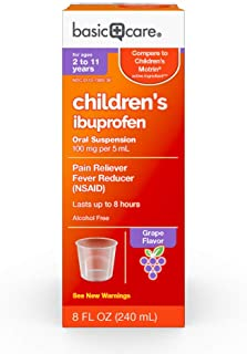 Basic Care Children's Ibuprofen Oral Suspension, Grape Flavor, 8 Fluid Ounce