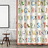 Aonewoe Polyester Duschvorhang für Kinder Lustige Buchstaben & Zahlen Wasserdichter schimmelresistenter Duschvorhang 3D Digitaldruck Dekoration mit 12 Haken Mehrfarbig 180x180cm