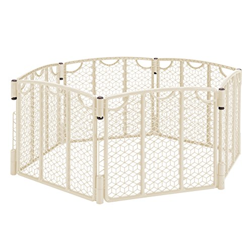 Evenflo Versatile Play Space, Indoor & Outdoor Play Space, Easy & Quick Assembly, Portable, 18.5 Square Feet of Enclosed Space, Durable Construction, For Children 6 to 24 Months, Cream