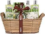 BRUBAKER Cosmetics Set de Baño y Ducha Aloe Vera - Juego de regalo de 11 piezas en cesta de mimbre