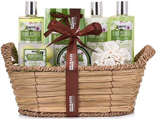BRUBAKER Cosmetics Bade- und Dusch Set Aloe Vera - 11-teiliges Geschenkset im Flechtkorb