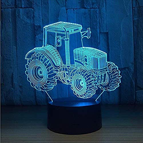 Night Light Farm Tractor 3D LED lampe Co Light Car Shape USB Charging Touch Switch lamp 7 Colorful Night Light for Children for New Year's Gift Night lamp