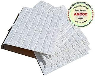 3D Papel pintado ladrillo blanco,pegatinas de pared de ladrillo de imitación, DIY etiqueta engomada de la pared adhesivo decorativo a prueba de agua Wallpaper pared de la pared 60x60 cm (20 PCS)