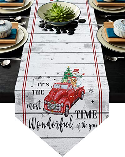 Table Runners for Dining Room, It's The Most Wonderful Time of The Year Washable Polyester Table Runners, Dresser Scarf Style for Party, Kitchen, Wedding Decorations, 16 x 72 inch