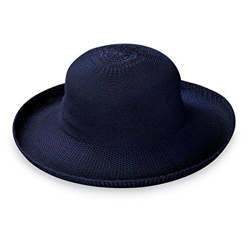 Wallaroo Hat Company Women's Victoria Sun Hat – Ultra Lightweight, Packable, Broad Brim, Modern Style, Designed in Australia, French Navy
