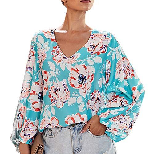 Camisas Elegantes De Las Mujeres con Cuello En V, Camisas Casuales Florales De Las Mujeres De La Manga De La Linterna, Blusas Sueltas Sin Arrugas De Las Señoras