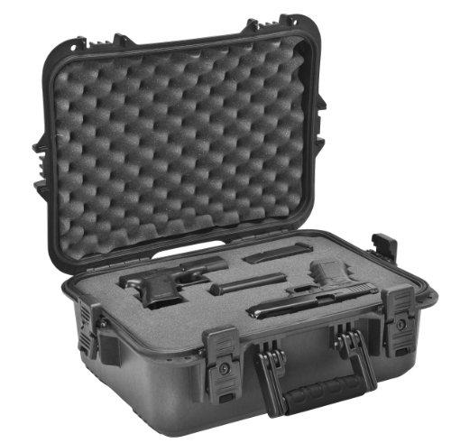 Plano AW-Serie Koffer für Pistolen und Zubehör, wetterfest, Gr. L, schwarze Griffe