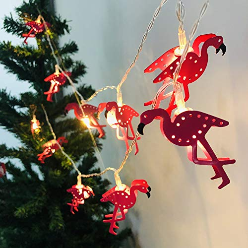 Metal Flamingo Lights, Outdoor LED String Lights Battery Operated Flamingo Fairy Lights Tropical Themed Strung Light for Wedding Garden Decoration (Metal Flamingo, 1.65m/10LED)