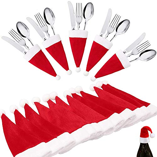 Christmas Santa Silverware-Holders Cutlery-Holders Flatware-Organizers - Xmas Party Dinnerware Decoration Supplies 30 PCS (30)
