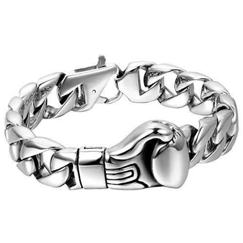 Cupimatch Herren Retro Breites Armband, Edelstahl Gotik Punk Rock Biker Boxhandschuhe Handschuhe Panzerkette Fahrradkette Motorradkette Armreif, Silber