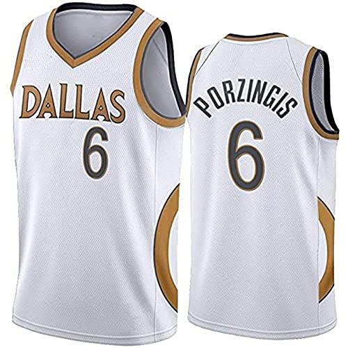 Ropa Uniformes de baloncesto de los hombres, Dallas Mavericks # 6 Kristaps Porzingis NBA Tops sueltos de secado rápido Jerseys de baloncesto deportivo Camisetas sin mangas, Camise(Size:L,Color:G1)