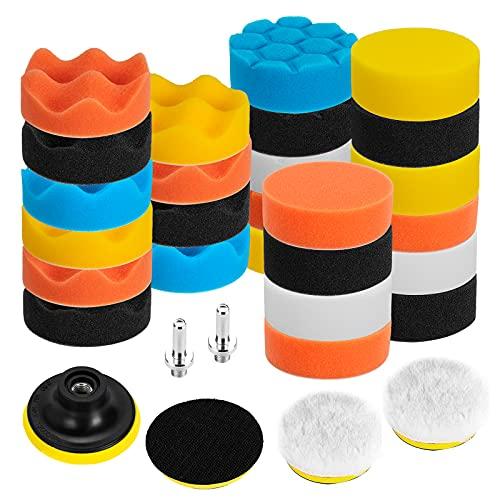 Ventvinal Juego de 31 piezas de esponja para pulir, para máquina de pulir Adaptador de taladro M10 Esponja de pulido para automóvil, Almohadillas para pulir hechas de esponja y lana