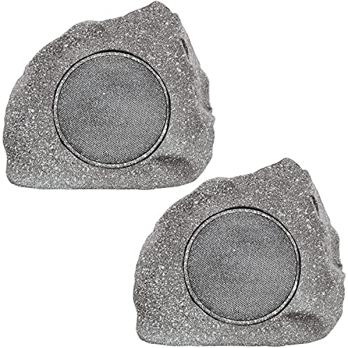 Homewell Outdoor Rock Speaker Solar-Powered Wireless Bluetooth 5.0 Portable Speaker Weatherproof for Patio, Pool, Deck…