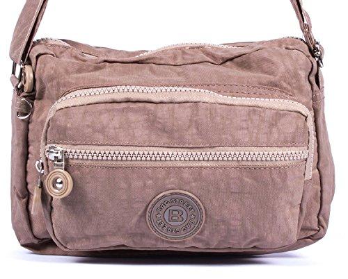 sportliche Handtasche/Schultertasche/Umhängetasche aus Nylon klein Stone/grau