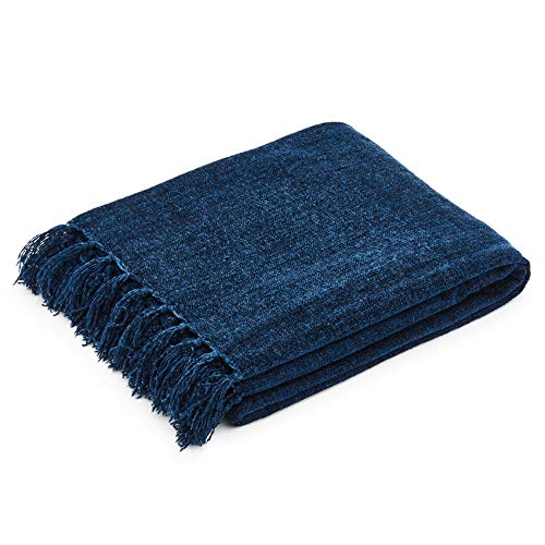 Americanflat Chenille Throw Blanket in Dark Blue - Breathable Polyester with Decorative Fringe - Wrinkle and Fade Resistant - 50' x 60'