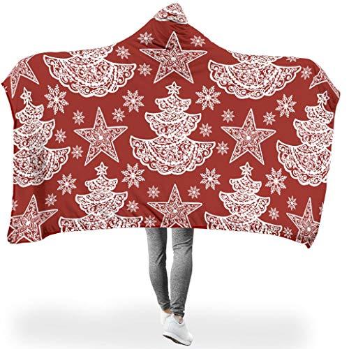 NiTIAN Christmas Flower ThemeWearable Hooded Throw Wrap Hypoallergeen plafond winter computer Creative Cloak voor volwassenen