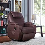 Polar Aurora Massage Recliner Chair Heated PU Leather Rocker Recliner Ergonomic Lounge 360 Degree Swivel/Cup Holders/Heating/Remote Control for Living Room(Brown)