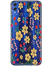 Oihxse Case Transparente Suave TPU Compatible con Huawei P8 Lite 2017 Funda [Lindo Caricatura Flor Serie Dibujos] Cristal Protector Carcasa Anti Rasguños Bumper Cover-Florales