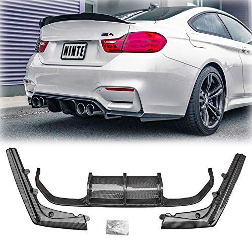 NINTE Rear Diffuser for 2014-2020 BMW F80 M3 F82/F83 M4 With M Sport Bumper, V Style Carbon Fiber ABS Lower Bumper Lip