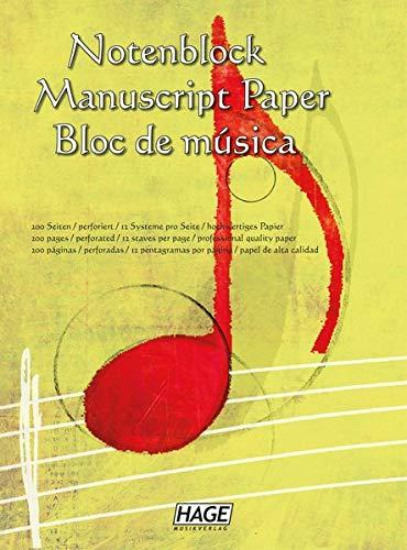 Notenblock: Für eigene Kompositionen und Musikideen: Notenblock, fr eigene Kompositionen und Musikideen! Unentbehrlich fr jeden Musiker