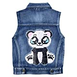Yao Girls Denim Vest Spring Autumn Sequins Vest Coat(Panda,6-7Years)