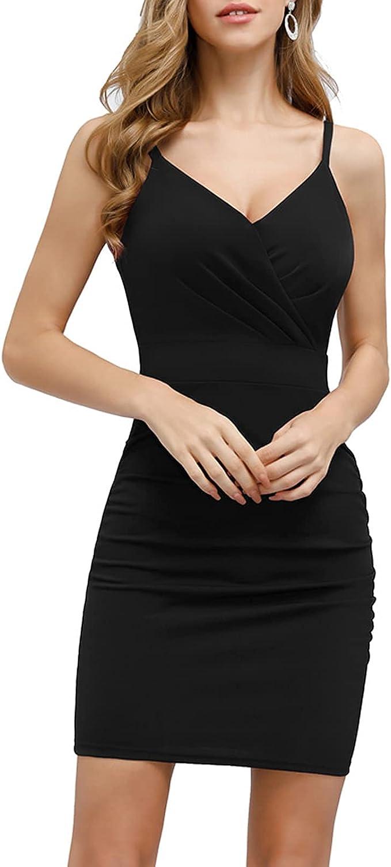 CURLBIUTY Women's Ruched Bodycon Dress V Neck Spaghetti Strap Pencil Dresses
