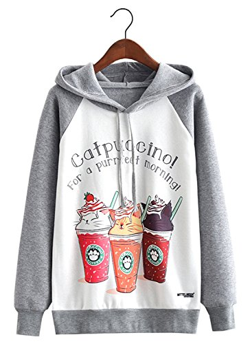 FUTURINO Women's Funny Cat Print Long Sleeve Fleece Lined Hoodie Pullover Tops