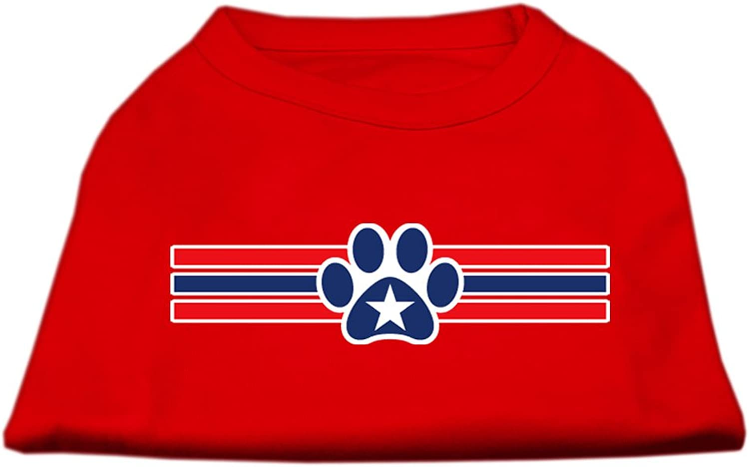 Dog   Cat   Pet Charms Patriotic Star Paw Screen Print Shirts Red XXL (18)