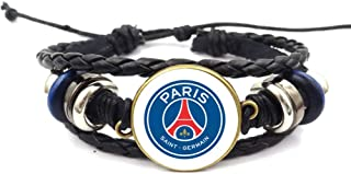 iEay Bracelet tressé de Cuir - Motif en Logo de Équipe de football L1/L2 - Bracelet Logo Club de football Ligue 1