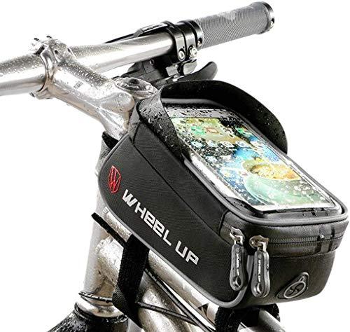 SAWOO Bolsa De Cuadro De Bicicleta, Bolsa De Viga Impermeable, Bolsa De Tubo Frontal Impermeable para Bicicleta, Adecuado para Teléfonos Móviles De Menos De 6.0 Pulgadas (Negro)