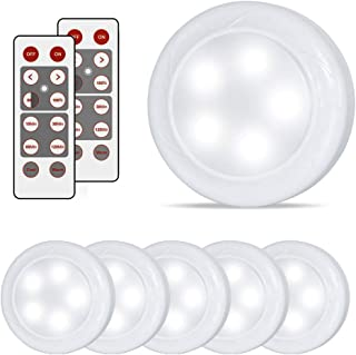 lifeholder 6 Pack Led Puck Lights, Timer Wireless Kitchen Under Cabinet Lighting, Battery Powered led Puck Light with Remote Control for Kitchen Under Counter Nursery Bedroom Hallway Stairs