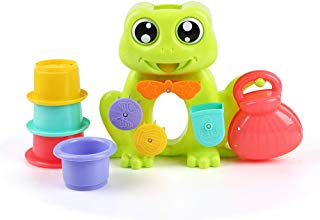 Beebeerun Frog Bath Toys with 4 Stackable Cups for Boys - Girls-Toddlers