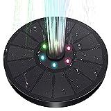 Solar Springbrunnen, 3W Solarbrunnen mit LED-Licht, Solarvogelbadbrunnen, Springbrunnenpumpe Solar mit 7 Düsen, Solarspringbrunnen Für Miniteich für Garten, Aquarium, Terrasse, Pool, Teich