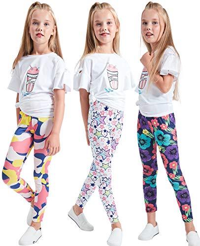 LUOUSE Little Girls Stretch Yoga Leggings Kids Skinny Dance Pants 3-Pack Size 6T - 7T