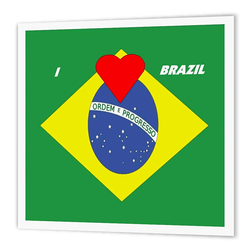 3dRose ht_51545_1 I Love Brazil-Iron on Heat Transfer Paper for White Material, 8 by 8-Inch