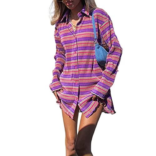 Pabuyafa Camisa de botón para mujer, estilo bohemio, estilo informal, holgada, de moda, de los años 90, ropa de calle para niñas, Morado (, M