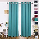 Blackout Curtains Drapery Panels - Window Treatment Sets Blackout Curtain/Panels for Bedroom/Living Room Window/Kitchen (2 Panels, W52xL84 inch Length, Turquoise)