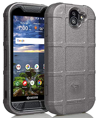 Nakedcellphone Case Compatible with Kyocera Duraforce Pro 2 Phone, [Gray] Special Ops Tactical Armor Rugged Shield Flexible Cover [Anti-Fingerprint, Matte Texture] for E6910/E6920