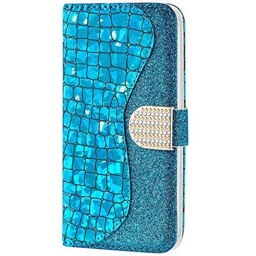 Vepbk pour Samsung Galaxy A20E [Pas pour A20] Coque, Etui Case Coque Paillette Housse Cover Étui Portefeuille Cuir Flip Case avec Magnétique Porte Carte Support Elegante Coque pour Galaxy A20E,Bleu