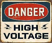 危険高電圧ヴィンテージスタイルメタルサインアイアン絵画屋内 & 屋外ホームバーコーヒーキッチン壁の装飾 8 × 12 インチ
